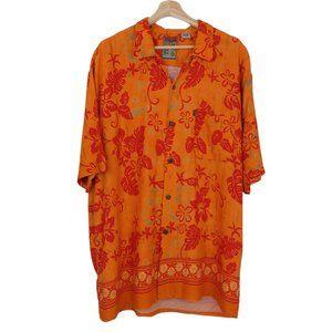 PINEAPPLE CONNECTION Men's Orange Hawaiian Shirt